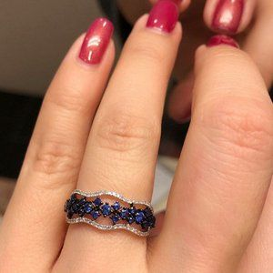 *NEW 925 Sterling Silver Sapphire Diamond Ring
